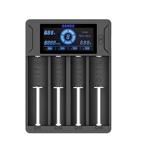 Intelligent LCD Battery Charger,OANDE AAA Battery Charger AA 18650 Smart Battery Charger Universal 4 Slots Rechargeable Charger Compatible li ion Ni-CD Ni-MH Lithium ion Batteries