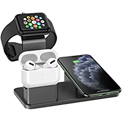 Metal Wireless Charger, GPED 3 in1 Fast Wireless Charging Station Wireless Charging Dock Wireless Charging Stand for iPhone 11 11pro 11pro Max X XS XR Xs Max 8 8 Plus Apple Watch and AirPods Pro