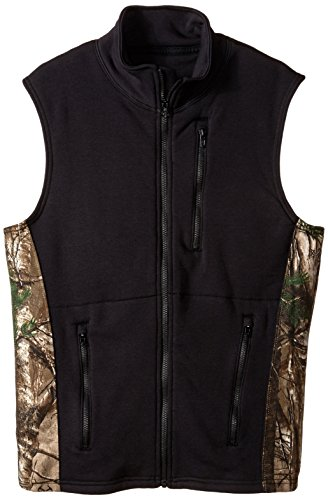 (Justin Flame Resistant Men's Polartec Fleece Vest with Wind Pro Technology, Black/Realtree,)