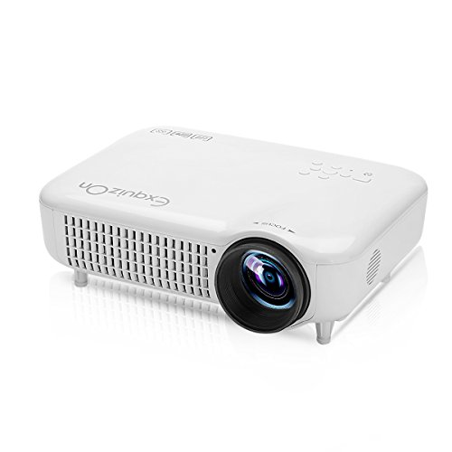 Exquizon Led Projector 3000Lumens Video Home Projector With Hdmi Input Support 1080P With Dvb T2 For Cinema Theater Tv Laptop Game Sd Ipad Iphone Android Smartphone 5018D  White
