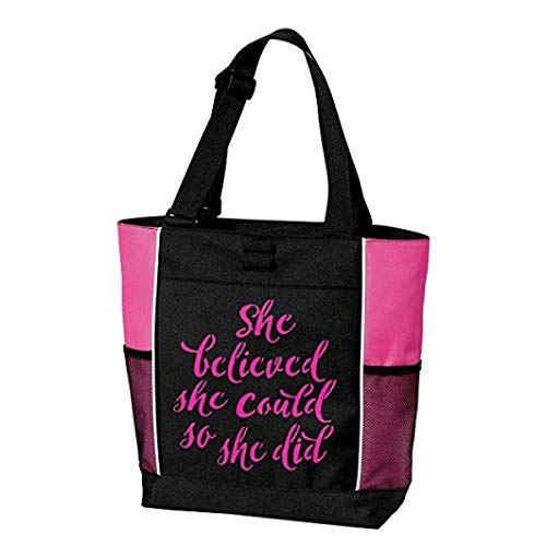 Tote Bag, Large, Empowering Words, Gift, She Believed She Could So She Did, Breast Cancer, motivational, inspirational, gift for woman, pink, black -