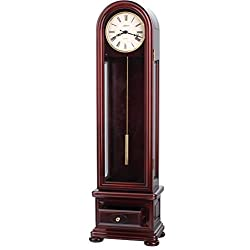 35 Inch Tall Traditional Classic Beautiful Solid Mahogany Wood Mini Floor Table Mantal Dual Chime Quality Clock (Mahogany)