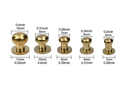 M-Aimee 25 Sets Sam Browne Solid Brass Round Button Studs,Leather Craft Belt Chicago Screws Solid Brass Studs Nail Rivets DIY for Belt Wallet Handbag(5 Sets per Size) ()