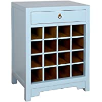 Antique Revival Wine Cabinet End Table, Aqua