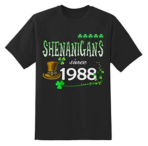 St Patricks Day Shirt - Shenanigans Since 1988 Unisex Shamrock Funny Irish St Patricks Day T Shirt Gifts Ideas Black ()
