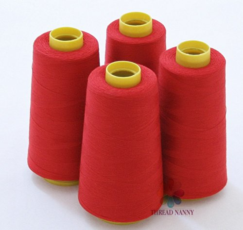 4 Large Cones  of Polyester Threads for Sewing Quilting Serg