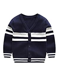 CJ Fashion V Neck Toddler Boy Cardigan Sweater Long Sleeve Knit Jacket Fall 2-7T