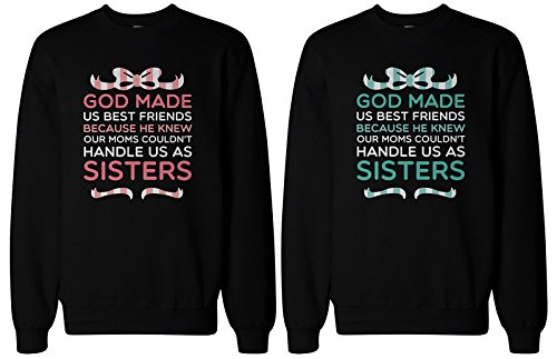 365 In Love BFF Gifts - God Made Us Best Friends Matching Sweatshirts for Best Friends (LEFT- M/RIGHT- M)