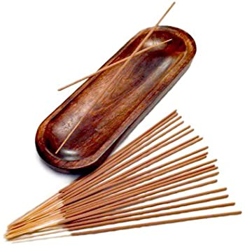 LARGE INCENSE BURNER & INCENSE STICKS GIFT SET - Hand Made, Solid Wood, Trough Holder Catches ALL the Ashes, 20 Incense Sticks