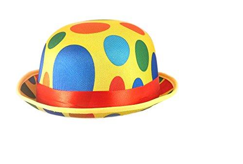 Adults Novelty Polka Dot Clown Bowler Hat Fancy Dress Accessory]()