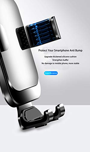 Universal Car Phone Mount Car Phone Holder for Car Air Vent Holder Cradle Aluminum Alloy Metal Gravity Auto-Clamping Car Mount Compatible with iPhone 12 Pro Max/12 Pro/12/Samsung S20 All Phone(Silver)