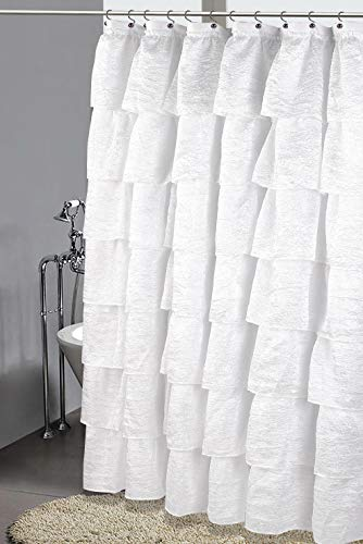 (Golden Linens Crushed Voile Sheer GYPSY Ruffle Window Curtain Panel (Shower Curtain 70