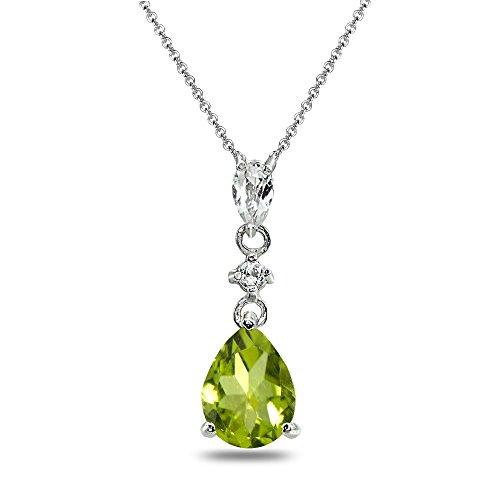 Sterling Silver Peridot & White Topaz Teardrop Dangling Drop Pendant Necklace