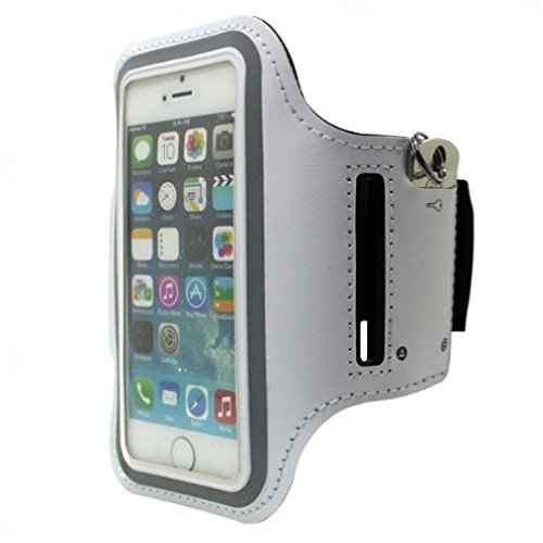 Sports Workout Armband White Premium Neoprene Running Gym Case for Ipod Touch 1st Gen, 2 2nd Gen, 3 3rd Gen - Ipod Touch 4th Gen, 5 5th Gen - US Cellular iPhone 4S, 4, 4G
