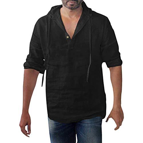 (YKARITIANNA Men's Baggy Cotton Linen Solid Button Plus Size Long Sleeve Hooded Shirts Tops 2019 Summer Hot Sale)