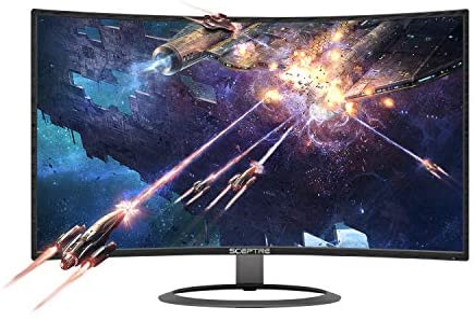 "Sceptre 27"" Curved 75Hz LED Monitor C278W-1920R Full HD 1080P HDMI DisplayPort VGA Speakers, Ultra Thin Metal Black, 1800R immersive curvature, 2018,Metallic Black"