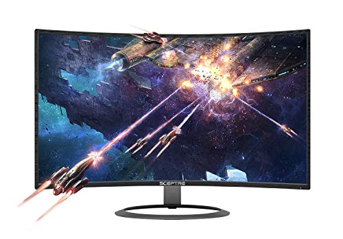"""Sceptre 27\"" Curved 75Hz LED Monitor C278W-1920R Full HD 1080P HDMI DisplayPort VGA Speakers, Ultra Thin Metal Black, 1800R immersive curvature, 2018"""
