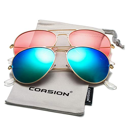 COASION Classic Polarized Aviator Sunglasses for Men Women Mirrored UV400 Protection Lens Metal Frame (Gold/Green Mirror + Gold/Clear Pink)
