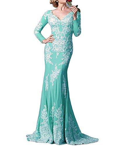vestido de Azul novia FOLOBE vestido manga de de madre noche noche formal de larga sirena encaje de de la dURUPOx
