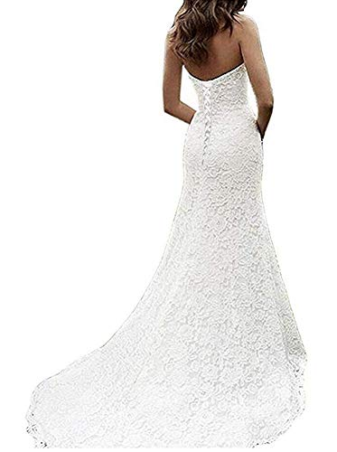 05fddac2d4d25 SIQINZHENG Women's Sweetheart Full Lace Beach Wedding Dress Mermaid Bridal  Gown Ivory