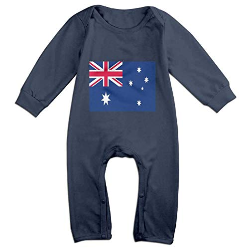 Zmli Australian Flag Long-Sleeved Baby Jumpsuit Baby Clothing Children's Jumpsuit Boys and Girls Robes one-Piece Suit Navy