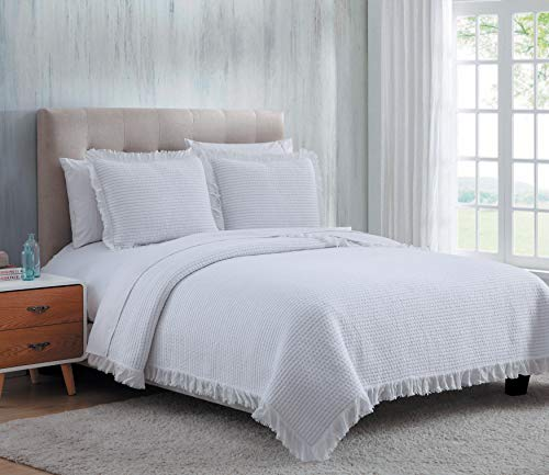 SARO LIFESTYLE Twila Collection Cotton Quilt Set with A Classic Ribbed Design and Fringed Borders, 104