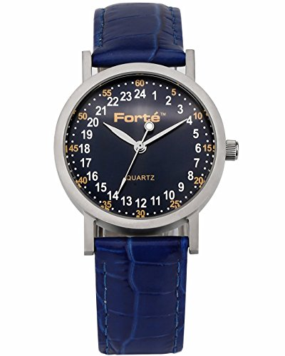 Forté 24 Hour blue Dial Unisex Leather Watch 1003B24-PBD Smaller Wrists - Real 24-hour - 24 Watch Wrist Hr