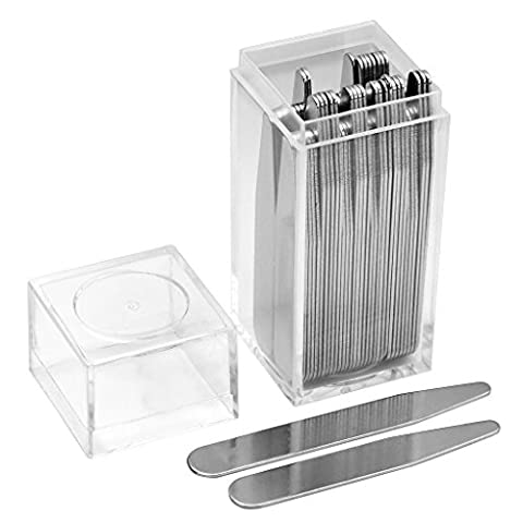 Zysta 40 Top Quality Metal Collar Stays Bones Stiffeners For Dress Shirts, 4 Size in Clear Plastic Box, 2.25