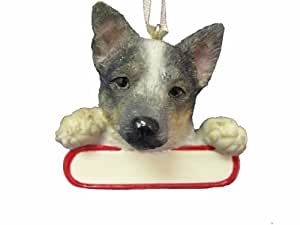 "Australian Cattle Dog  Ornament ""Santa's Pals"" With Personalized Name Plate A Great Gift For Australian Cattle Dog  Lovers"