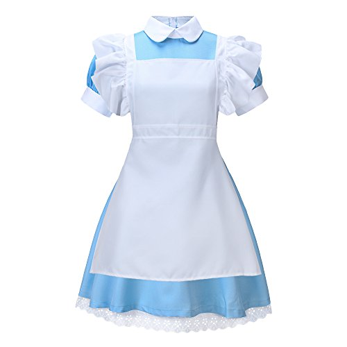 Bonamana Women Halloween French Lolita Maid Costume Cosplay with Apron (M) Blue -