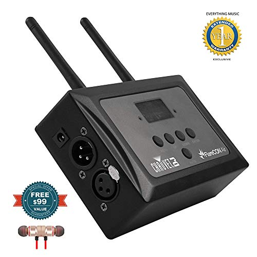 Chauvet DJ FlareCON Air D-Fi Transmitter and Wi-Fi Receiver includes Free Wireless Earbuds - Stereo Bluetooth In-ear and 1 Year Everything Music Extended (Best Nux Audio Interfaces)