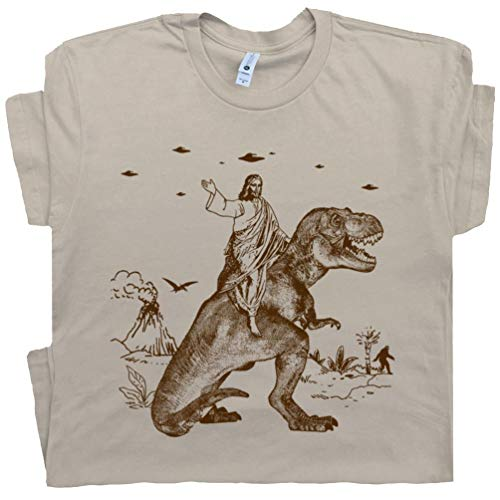 M - Jesus Riding a Dinosaur T Shirt Funny UFO Tee Offensive Evolution Charles Darwin Alien Abduction Men Women Kids Tan