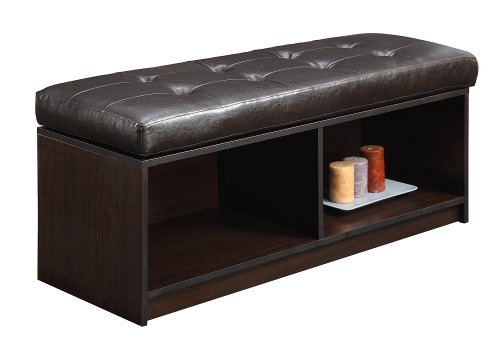 Convenience Concepts Designs4Comfort Contemporary Broadmoor Storage Ottoman, Espresso Faux Leather (With Ottomans Table Console Storage)