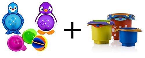 Bundle: Munchkin Lazy Buoys Bathtub Toys + Nuby 5 Count Splish Splash Stacking Bath Cups (Munchkin Lazy Buoys Bathtub Toys)