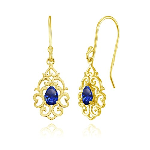 - Yellow Gold Flashed Sterling Silver Created Blue Sapphire Filigree Heart Teardrop Dangle Earrings