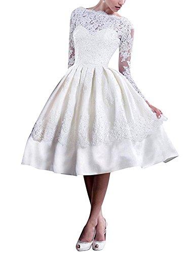 Kurz mia Standesamt Braut Elfenbein Spitze Brautmode Brautkleider Hochzeitskleider Glamour La Abendkleider Langarm HOpPqOdx
