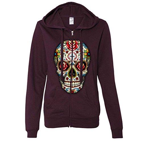 Dia De Los Muertos Sugar Skull Ladies Zip-Up Hoodie - Light BlackBerry XX-Large -