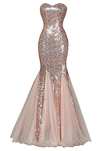 f2d32974eb tutu.vivi Sparkly Sequined Mermaid Prom Dresses Strapless Long Bridesmaid  Dress for Wedding Party Blush Size16