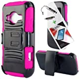 T-Mobile ZTE Concord II Case ZTE Z730 3 in 1 Bundle Silicon Hybrid Armor hard Snap on Cover Case with Viewing Stand - Hot Pink (Free Ultra-Sensitive Stylus Pen and Premium Screen Protector by BeautyCentral TM) by Generic