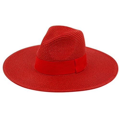 Summer Classic Straw Panama Fedora Sun Hat In Solid Color W/ Black Grosgrain Band Trim (RED) - Trim Fedora