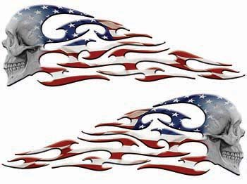 Weston Ink Tribal Style Evil Skull Flame Graphics with American Flag