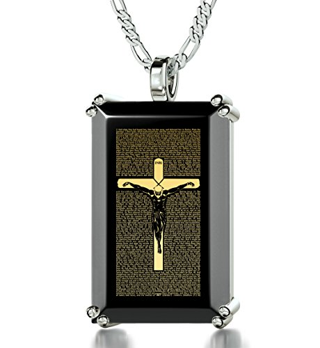 925 Sterling Silver Men's Crucifix Necklace with Matthew 27 Inscribed in 24k Gold onto a Black Onyx Christian Pendant, 20'' by Nano Jewelry