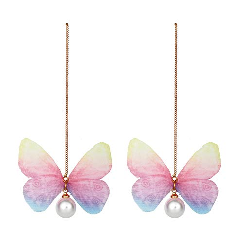 Women Butterfly Earrings with Chain - Insect Earrings Tassel - Monarch Earring for Girls,Butterfly Party,Birthday or Daily Wear (Pink Butterfly Chain)