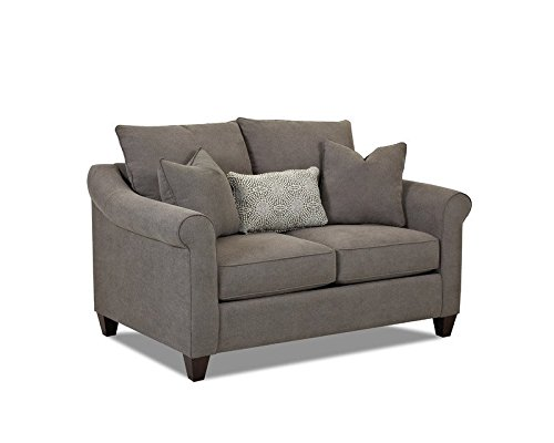Klaussner 012013160367 Diego Loveseat, Charcoal Fabric