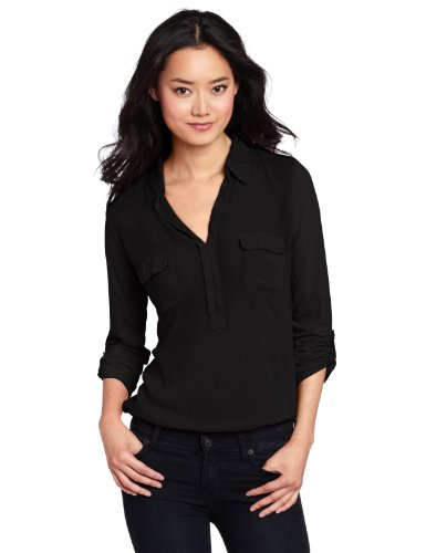 Splendid Women's Long Sleeve Collar Top Shirt, Black, X-Small