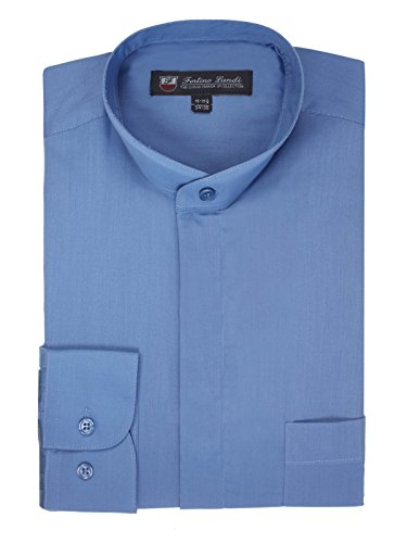 FORTINO LANDI Men's Long-Sleeve Banded Collar Shirt - French Blue 2XL(18-18.5 Neck) Sleeve 34/35 ()