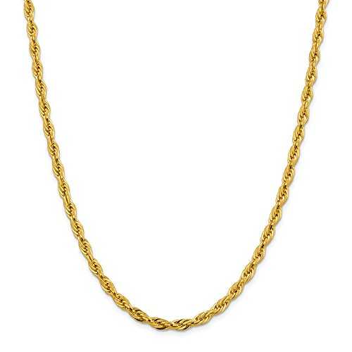 Beautiful Yellow gold 14K 14ky 4.75mm Semi-Solid Rope Chain ()