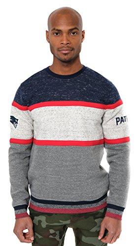 (Icer Brands NFL New England Patriots Men's Fleece Sweatshirt Long Sleeve Shirt Block Stripe, X-Large, Navy)