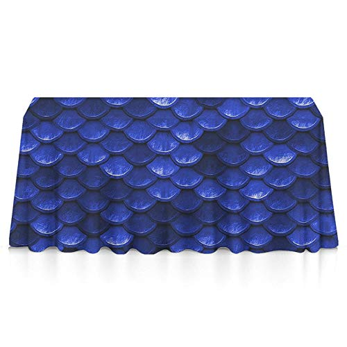 Jinkela 100% Polyester, Machine Washable, Everyday Kitchen Tablecloth for Dinner Parties, Summer & Outdoor Picnics - 60x84 Inch, Beautiful Cobalt sea Blue Mermaid Fish Scales
