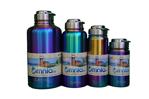 Omnia h2o Canteen – 12oz, 18oz, 32oz or 64oz, Vacuum Insulated Stainless Steel Water Bottle, Wide Mouth Flask with All Metal Lid, Enjoy Hot and Cold Drinks, Growler great for Beer and Wine (12 oz)